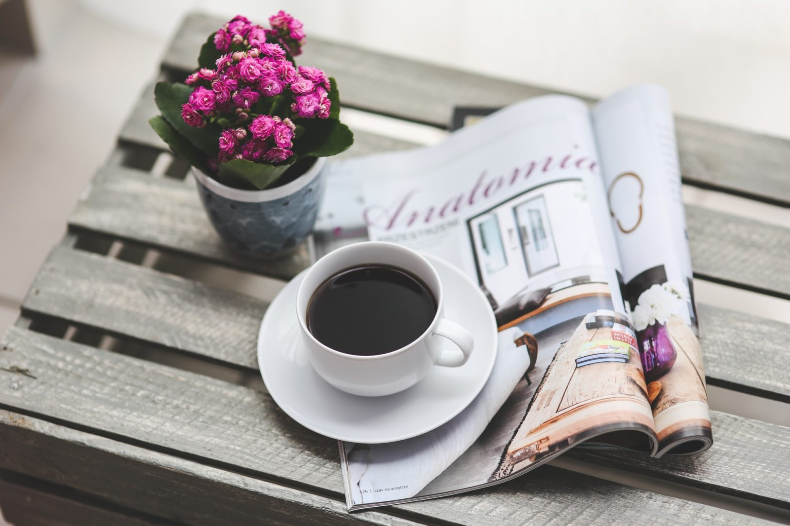 magazine on table with cup of coffee